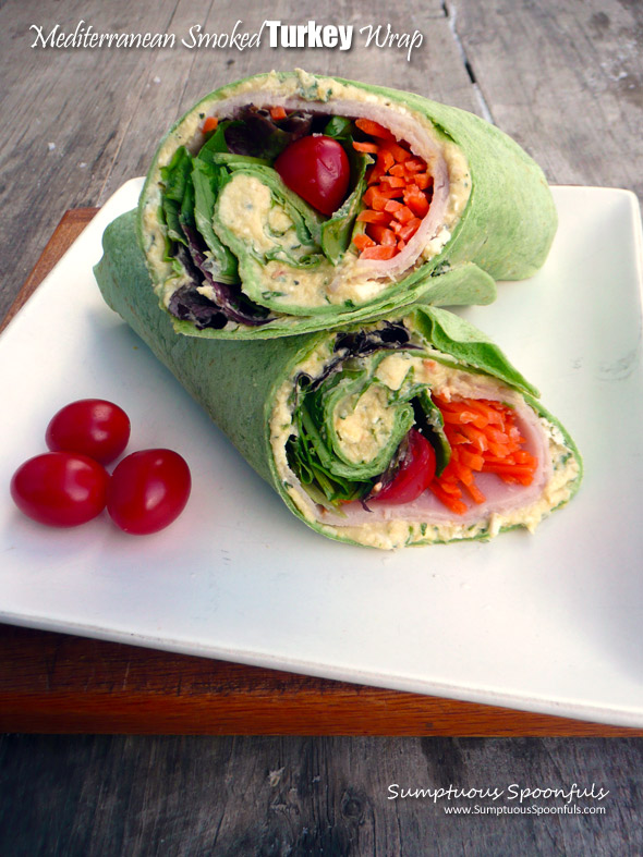 Mediterranean Smoked Turkey Wrap ~ Sumptuous Spoonfuls #quick #healthy #lunchbox #wrap #recipe
