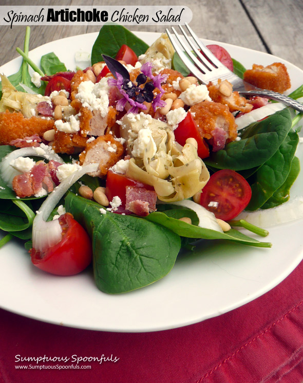 Spinach Artichoke Chicken Salad with Bacon, Feta, Pinons & a Sundried Tomato Ranch Dressing ~ Sumptuous Spoonfuls #chicken #artichoke #salad #recipe