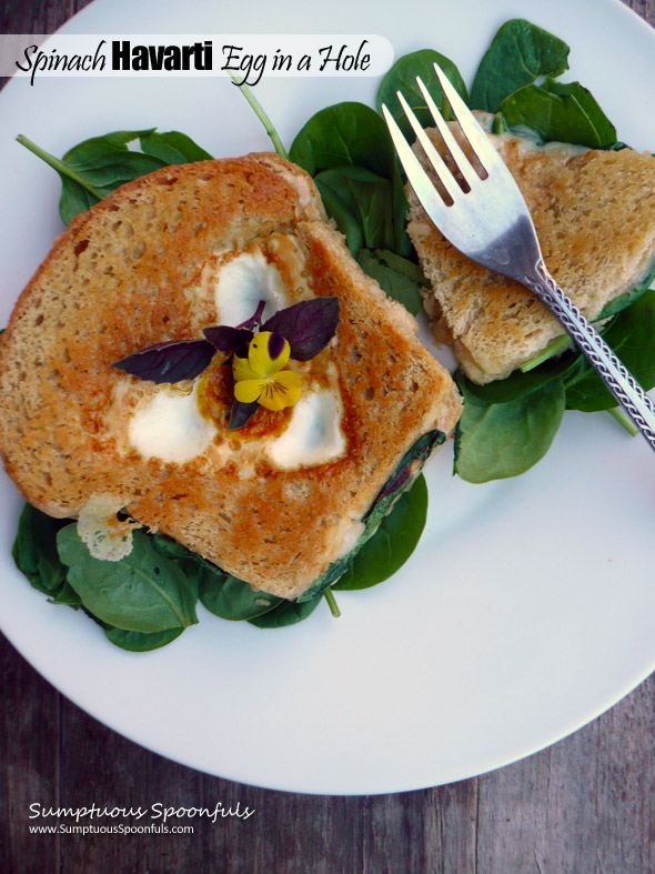 Spinach Havarti Grilled Cheese Egg in a Hole ~ Sumptuous Spoonfuls #grilledcheese #egg #breakfast #recipe