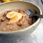 Banana Maple Nut Oatmeal ~ Sumptuous Spoonfuls #fast #simple #hot #healthy #breakfast #recipe