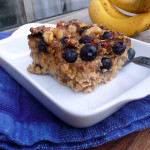 Blueberry Banana Baked Oatmeal with Toasted Walnuts & Maple Syrup ~ Sumptuous Spoonfuls #baked #oatmeal #healthy #decadent #breakfast #recipe