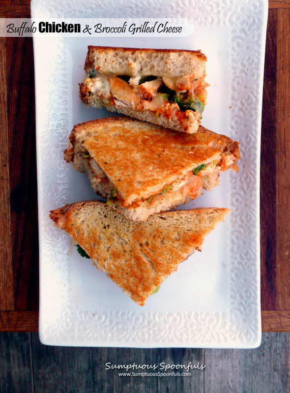 Buffalo chicken broccoli grilled cheese sumptuous for Buffalo chicken sandwich recipe grilled