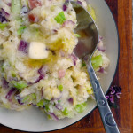 Irish Colcannon with Red Onion & Bacon ~ Sumptuous Spoonfuls #Irish #Potato #Cabbage #Recipe