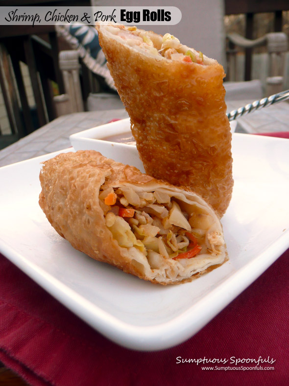Shrimp, Chicken & Pork Egg Rolls ~ Sumptuous Spoonfuls #Asian #Eggroll #Recipe
