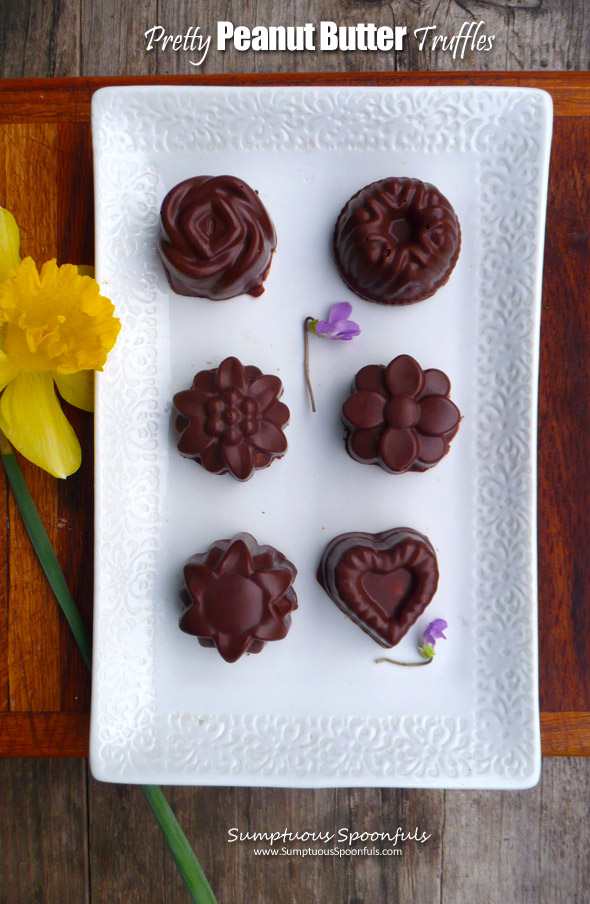 Pretty Peanut Butter Truffles ~ Sumptuous Spoonfuls #beautiful #decadent #chocolates #recipe