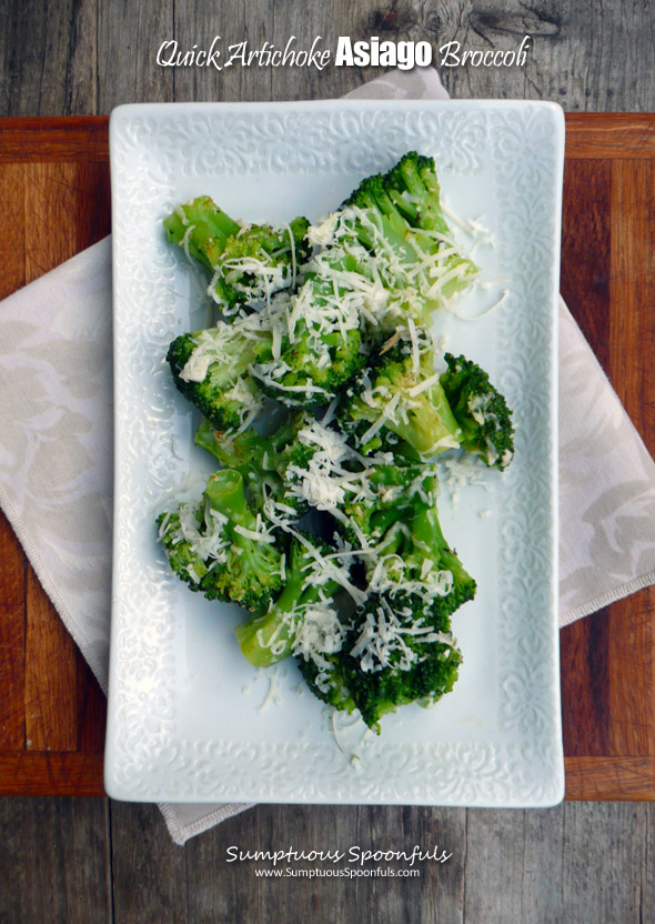 Quick Artichoke Asiago Broccoli ~ Sumptuous Spoonfuls #easy #elegant #broccoli #side #recipe
