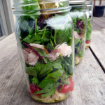 Spinach and Artichoke Salad in a Jar with marinated feta ~ Sumptuous Spoonfuls #saladinajar #recipe