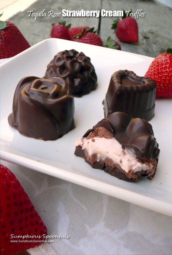 Tequila Rose Strawberry Cream Truffles ~ Sumptuous Spoonfuls #homemade #molded #truffles #recipe