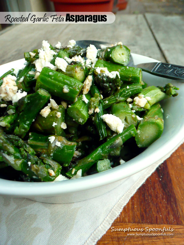 Roasted Garlic Feta Asparagus ~ Sumptuous Spoonfuls #fabulous #easy #sidedish #recipe
