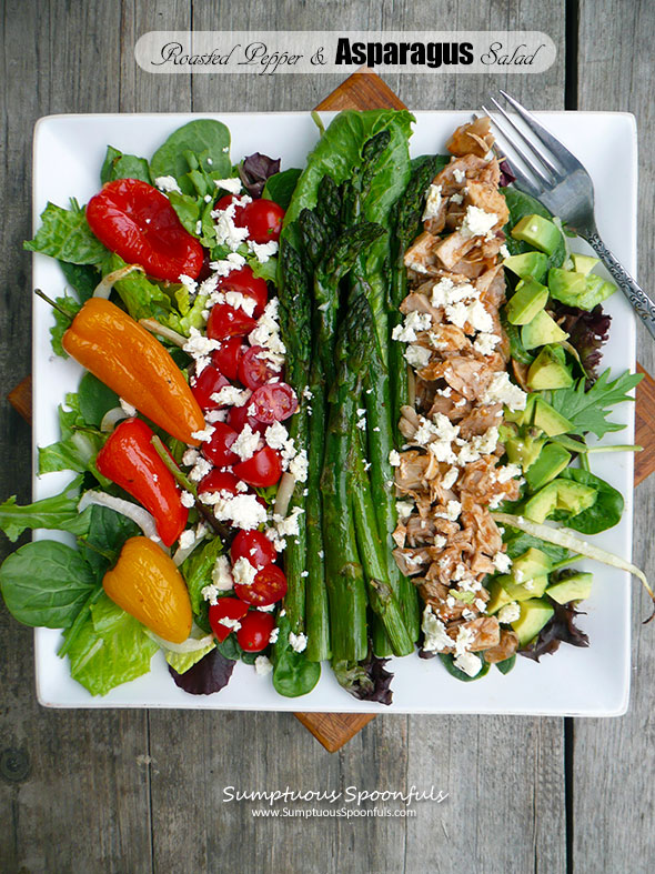 Roasted Pepper & Asparagus Salad with Chicken, Feta, and Avocado and a ...