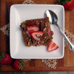 Strawberry Banana Pecan Baked Oatmeal ~ Sumptuous Spoonfuls #healthy #sweet #glutenfree #breakfast #recipe