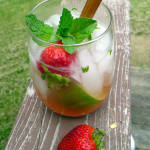 Strawberry Rhubarb Mojito ~ Sumptuous Spoonfuls #mint #rum #cocktail #recipe