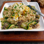 Zucchini Taglietelle with Wild Mushroom, Cheesy Quinoa & Egg ~ Sumptuous Spoonfuls #healthy #breakfast #morel #mushroom #recipe