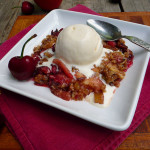 Apple Cherry Rhubarb Crisp with Toasted Pecans ~ Sumptuous Spoonfuls #easy #delightful #dessert #recipe