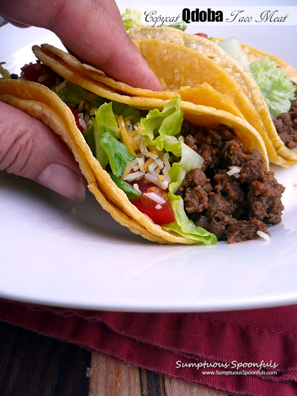 Copycat Qdoba Taco Meat ~ Sumptuous Spoonfuls #quick #easy #Qdoba #seasoned #groundbeef #recipe