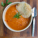 Harissa Tomato Soup with Cheese Crisps ~ Sumptuous Spoonfuls #harissa #tomato #soup #recipe