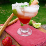 Strawberry Rhubarb Margarita ~ Sumptuous Spoonfuls #cocktail #recipe
