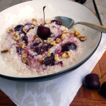 5-Minute Cherry Walnut Oatmeal ~ Sumptuous Spoonfuls #easy #cookatwork #breakfast #recipe
