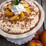 Brandied Peach Mango Ice Cream Pie ~ Sumptuous Spoonfuls #frozen #peach #dessert #recipe