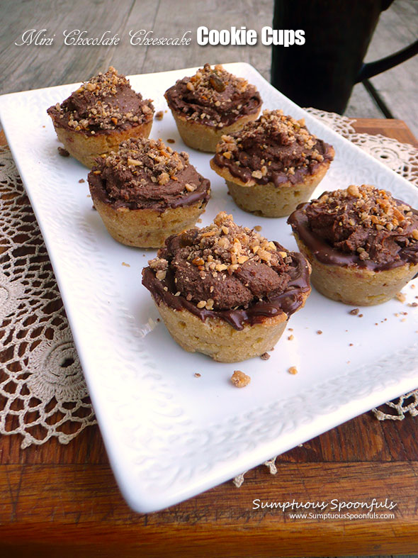 Mini Chocolate Cheesecake Cookie Cups ~ Sumptuous Spoonfuls #decadent #mini #chocolate #dessert #recipe