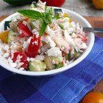 Greek Rice Salad Recipe ~ Sumptuous Spoonfuls #Mediterranean #Rice #Salad #Healthy #Glutenfree