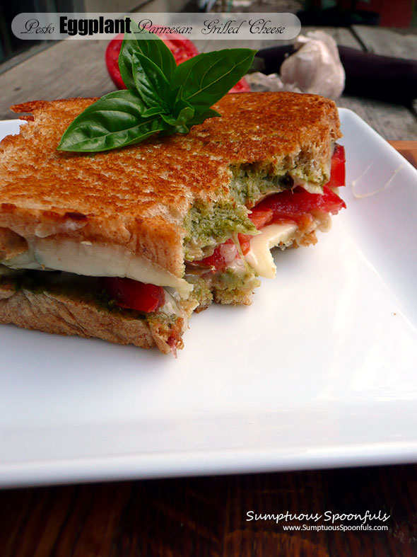Pesto Eggplant Parmesan Grilled Cheese ~ Sumptuous Spoonfuls #vegetarian #eggplant #sandwich #recipe