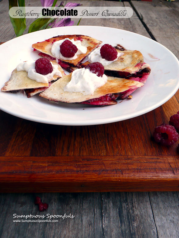 Raspberry Chocolate Dessert Quesadilla #Choctoberfest
