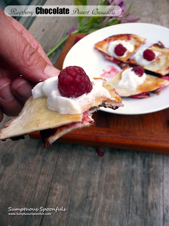 Raspberry Chocolate Dessert Quesadilla ~ Sumptuous Spoonfuls #Choctoberfest #easy #raspberry #chocolate #dessert #recipe