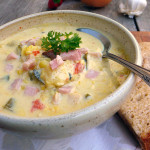 Smoky Bacon & Zucchini Corn Chowder ~ Sumptuous Spoonfuls #smoky #chowder #soup #recipe