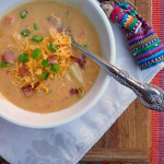 Bacon Cheddar Chipotle Potato Soup ~ Sumptuous Spoonfuls #cheesy #spicy #smoky #potato #soup #recipe