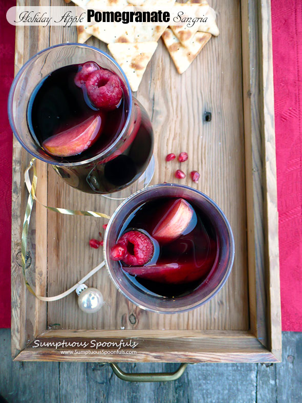 Holiday Apple Pomegranate Sangria ~ Sumptuous Spoonfuls #holiday #cocktail #wine #recipe