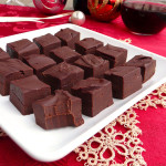 Dark Chocolate Red Wine Fudge ~ Sumptuous Spoonfuls #easy #chocolate #wine #fudge #recipe