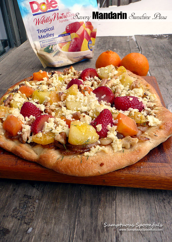 Savory Mandarin Sunshine Pizza ~ Sumptuous Spoonfuls #homemade #pizza #recipe #DoleRose