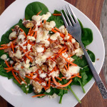 Feta Walnut Spinach Salad with Matchstick Carrots and Creamy Dijon Dressing ~ Sumptuous Spoonfuls #savory #winter #salad #recipe