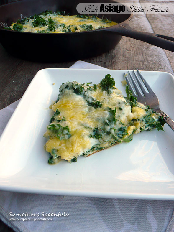 Kale Asiago Skillet Frittata ~ Sumptuous Spoonfuls #kale #cheese #breakfast #recipe