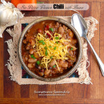 Six-Pepper Venison Chili with Beans ~ Sumptuous Spoonfuls #spicy #homemade #chili #recipe