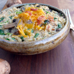Bacon Mushroom Smoked Cheddar Risotto ~ Sumptuous Spoonfuls #easy #baked #brownrice #risotto #recipe