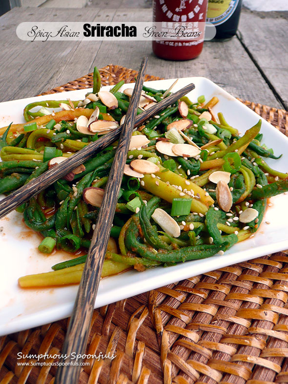 Spicy Asian Sriracha Green Beans ~ Sumptuous Spoonfuls #fiery #healthy #sidedish #recipe