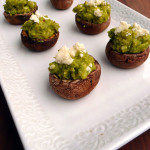 Gorgonzola Guacamole Stuffed Mushrooms ~ Sumptuous Spoonfuls #bluecheese #guacamole #mushrooms #appetizer #gameday #recipe
