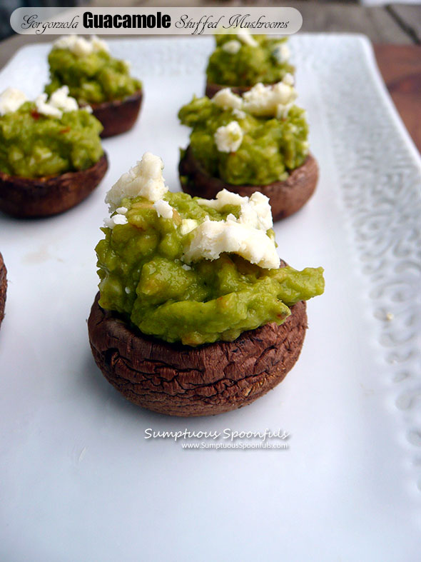 Gorgonzola Guacamole Stuffed Mushrooms