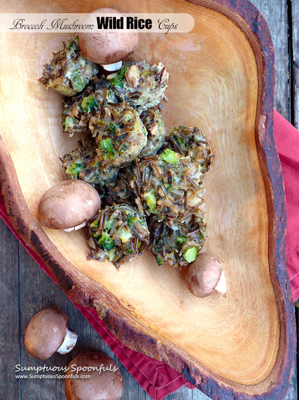 Broccoli Mushroom Wild Rice Cups ~ Sumptuous Spoonfuls #easy #wildrice #mushroom #bites #recipe