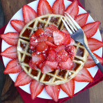 Maple Strawberry Chocolate Chip Waffles ~ Sumptuous Spoonfuls #decadent #breakfast #recipe #waffles