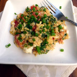 Tomato Basil Quinoa Scrambled Eggs with Kale ~ Sumptuous Spoonfuls #eggs #kale #breakfast #recipe