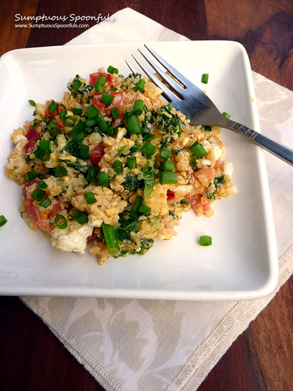 Tomato Basil Quinoa Scrambled Eggs with Kale