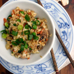 Mushroom Cauliflower Fried Rice ~ Sumptuous Spoonfuls #healthy #cauliflower #friedrice #recipe