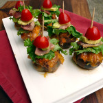 Bacon Chipotle Cheeseburger Stuffed Mushrooms ~ Sumptuous Spoonfuls ‪#‎burgermonth‬ #girlcarnivore #burger #mushroom #recipe