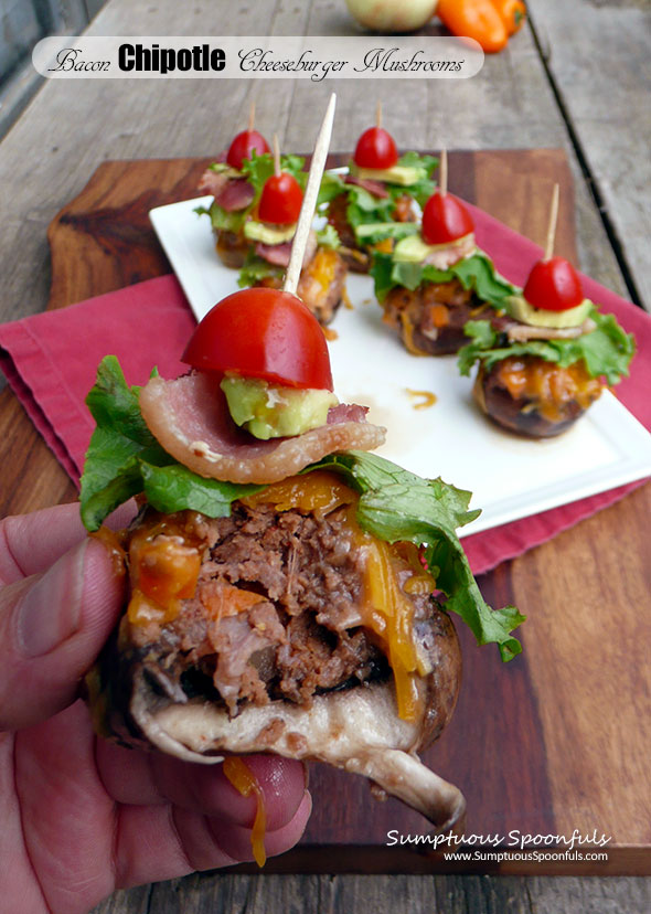Bacon Chipotle Cheeseburger Stuffed Mushrooms