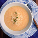 Dreamy Creamy Carrot Cauliflower Soup ~ Sumptuous Spoonfuls #cauliflower #cheese #soup #recipe