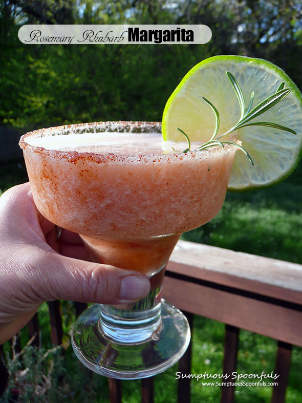 Rosemary Rhubarb Margarita with Smoky Sweet & Spicy Rim