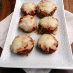 Spinach Lasagna Stuffed Mushrooms ~ Sumptuous Spoonfuls #lasagna #stuffed #mushrooms #lowcarb #recipe